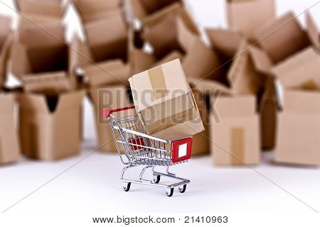 Shopping cart with many open boxes