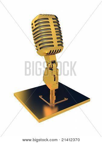 Microfone retrô de metal sobre branco. 3D render