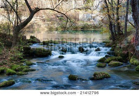 beautiful little stream in autumn in missouri