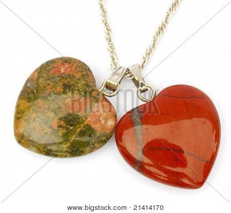 Jasper and unakite hearts