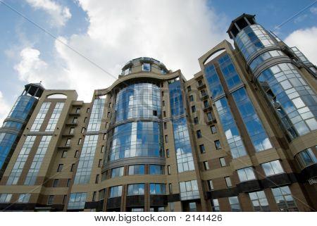 Modern Building Over Blue Sky Background