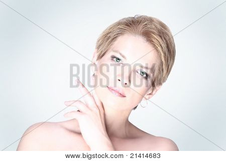 Beautiful happy portrait of an adult blonde woman