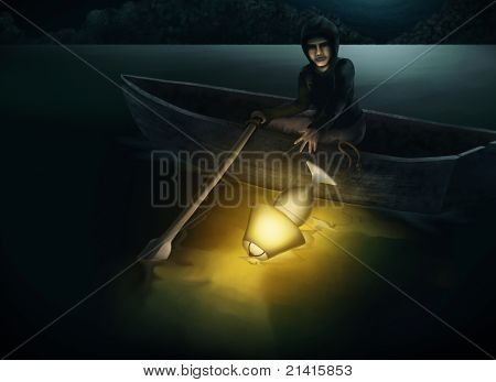 throwing a lamp into a lake at night