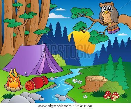 Cartoon forest landscape 5 - vector illustration.