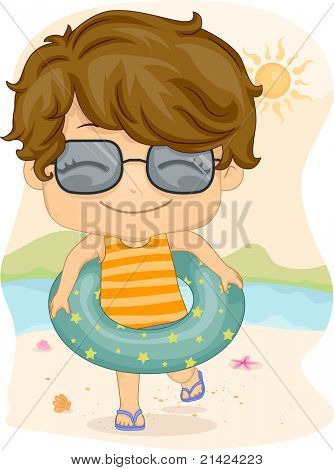 Illustration of a Boy Wearing a Life Buoy