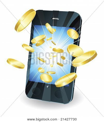 Gold Coins Flying Out Of Smart Mobile Phone