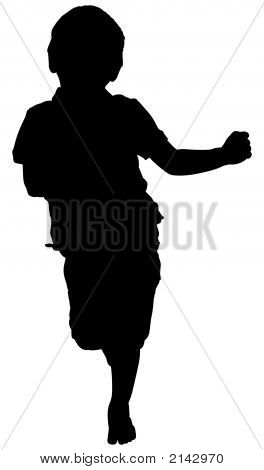 Silhouette With Clipping Path Of Running Boy
