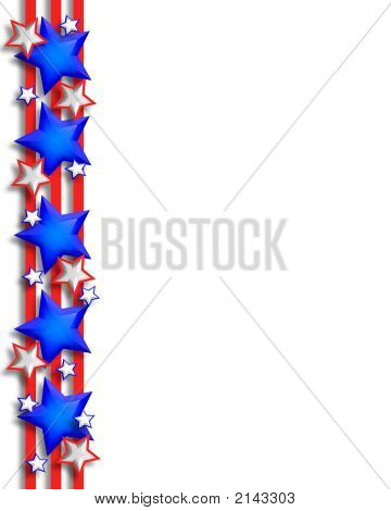 3D Stars And Stripes Patriotic  Page Border