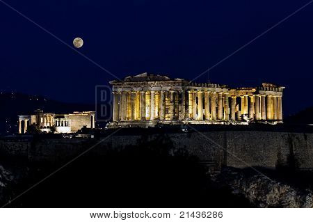 Acropolis (parthenon) By Night, Under Full Moon,  Athens, Greece