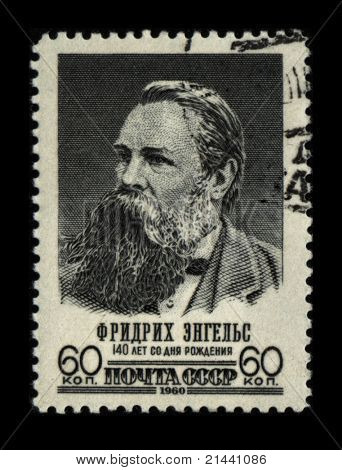 USSR - CIRCA 1960: A stamp printed in USSR shows portrait Friedrich Engels, circa 1960