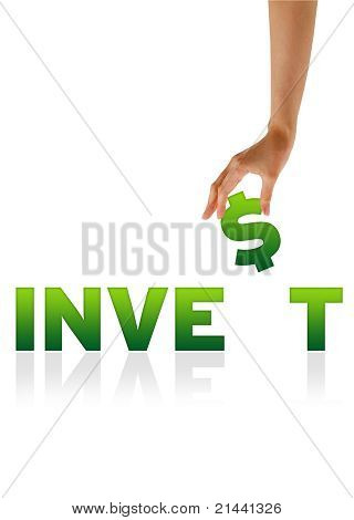 Hand Holding $ Of The Word Invest