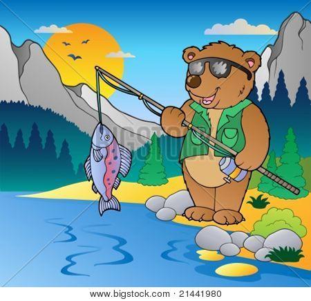 Lake with cartoon fisherman 2 - vector illustration.
