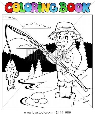 Coloring book with fisherman 1 - vector illustration.