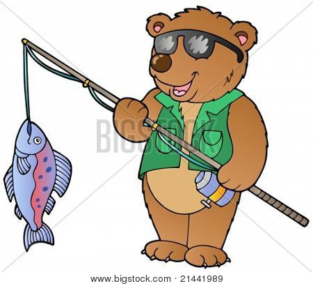 Cartoon bear fisherman - vector illustration.