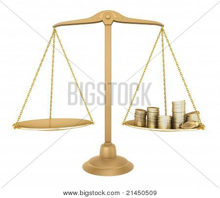 Gold balance. Something equal with money, isolated