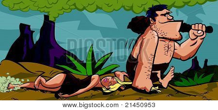 Cartoon caveman dragging a woman by her hair