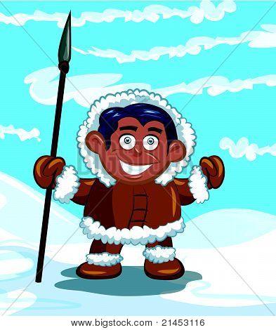 Eskimo mit einem Speer
