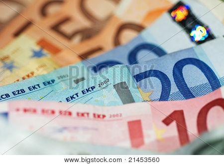 Macro Shot Of Euro Banknotes Focus On 20?