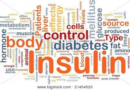 Background concept wordcloud illustration of insulin diabetes control
