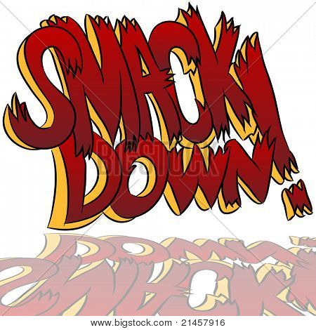 An image of a smack down comic book style sound effect text.
