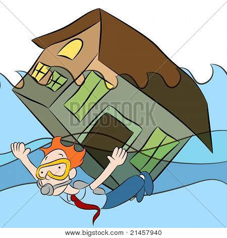 An image of a person swimming with a house that is sinking in water.