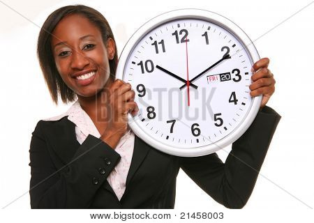 African girl with a big clock isolated on white background