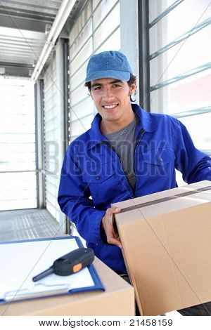 Portrait of smiling delivery man