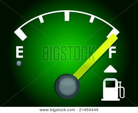 detailed gas gage illustration design isolated on a dark green background