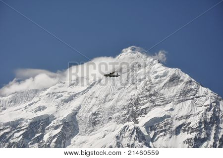 The small plane on the background of