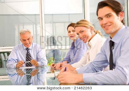businessman and businesswoman during a working meeting