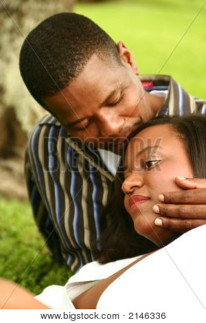 African American Couple Romantic Outdoor