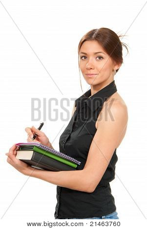 Pretty Business Woman Thinking, Holding Stack Of Books, Notebook