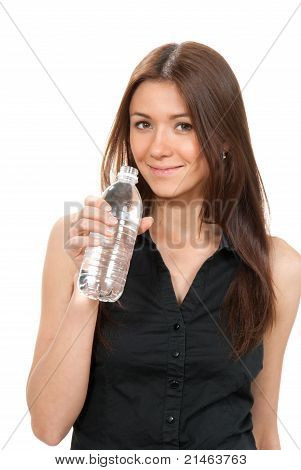 Healthy Young Woman Drinking Pure Mineral Bottled Water