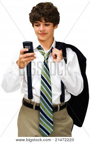 Smiling Boy Text Messaging