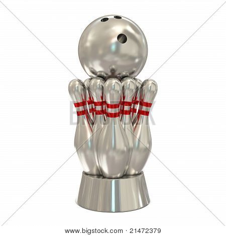 Silver bowling trophy
