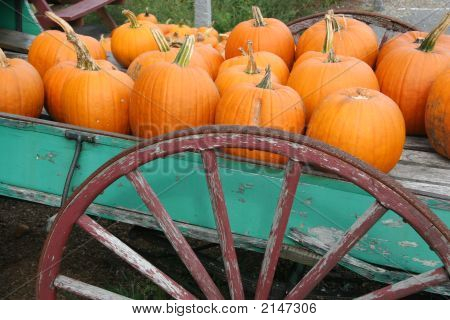 Pumpkins On An Old Wagon For Sale