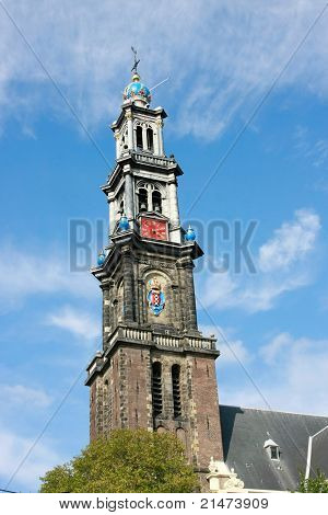 A detail of the Westertoren (Westerkerk Church) in Amsterdam, Holland