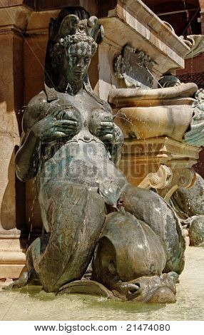 Lactating Mermaid, Neptune Fountain, Piazza Maggiore, Bologna. Sculpted by Giambologna (Jean Boulogne 1529-1608)