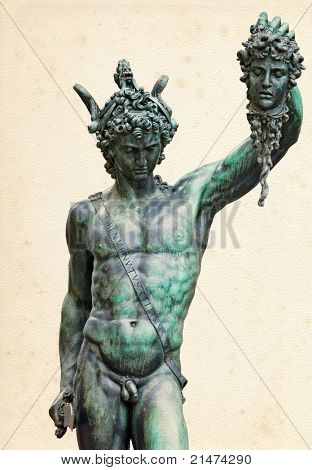 Perseus with the head of Medusa (1545-1554), by Benvenuto Cellini, in Loggia de' Lanzi, Piazza della Signoria, Florence.