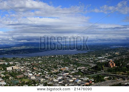 Aerial View Puget Sound Seattle