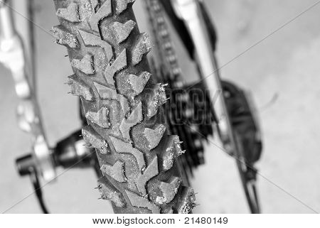 Picture of bicycle wheel closeup