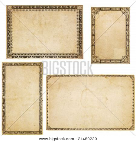 Four Vintage Cards With Ornate Borders
