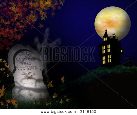 Spooky Tombstone Halloween Background