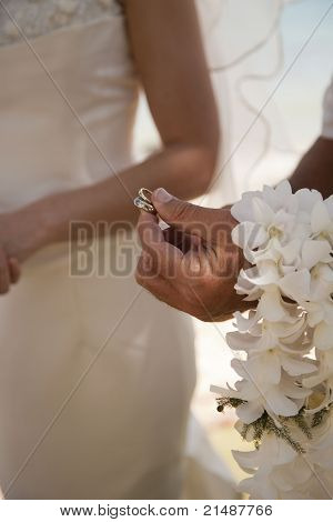 Vertical Shot Of Wedding Ceremony With Rings