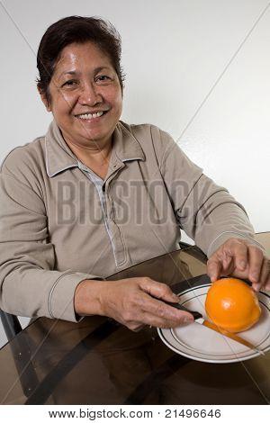 Smiling Senior Sixties Asian Woman