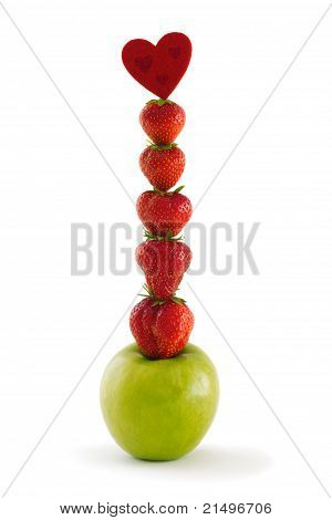 Composition Of Green Apple And Strawberries
