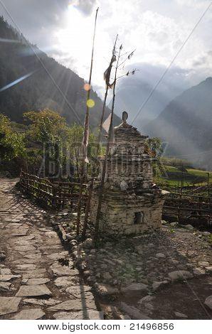 Rays of sun over the stupa, Nepal