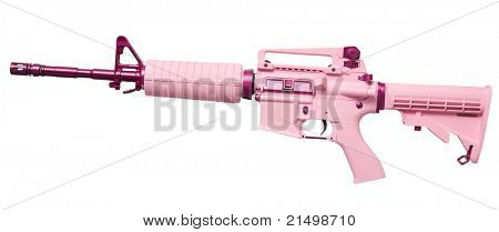 Pink automatic rifle isolated on a white background