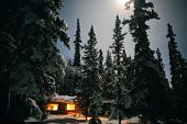 Cozy log cabin at moon-lit winter night