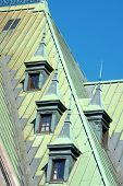 picture of gare  - Old copper roofs from the railway and bus station complex in Quebec City Canada - JPG